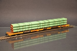 HO Scale Walthers Flat Car with 9 stack pipe