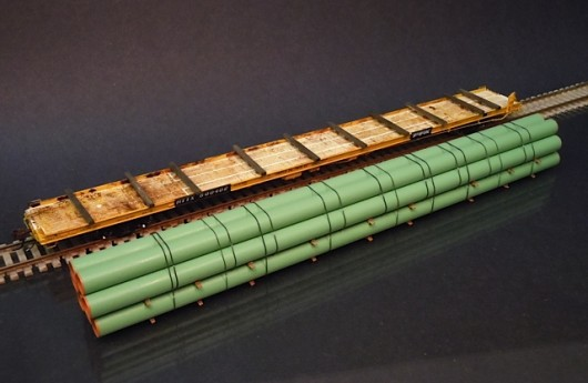 Ho scale large diameter coated line pipe stack protoloads